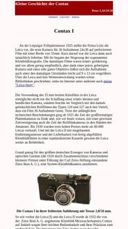 Vorschau der mobilen Webseite members.chello.at, Peter Lausch: Kleine Geschichte der Contax