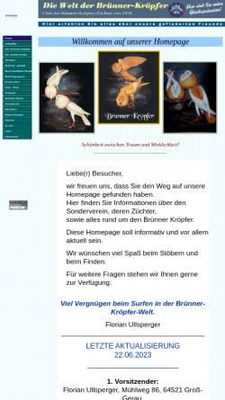 Vorschau der mobilen Webseite www.cbz-1910.de, Club der Brünner-Kröpfer-Züchter