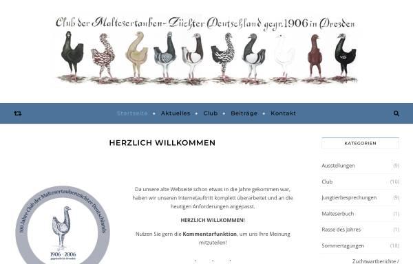 Vorschau von www.maltesertauben.de, Club der Maltesertaubenzüchter Deutschlands