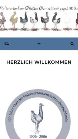 Vorschau der mobilen Webseite www.maltesertauben.de, Club der Maltesertaubenzüchter Deutschlands