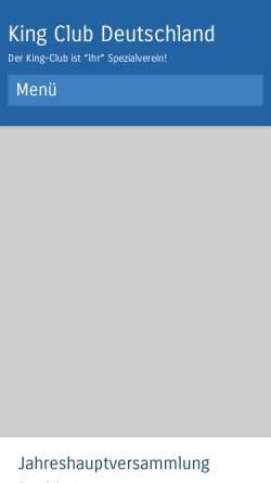 Vorschau der mobilen Webseite www.king-club-deutschland.de, King-Club Deutschland