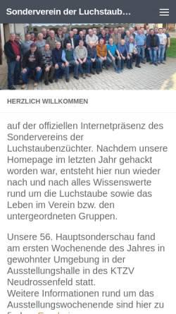 Vorschau der mobilen Webseite www.luchstaube.de, SV der Luchstaubenzüchter