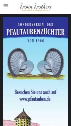 Vorschau der mobilen Webseite www.pfautauben.de, SV der Pfautaubenzüchter