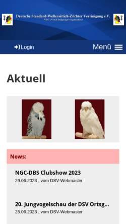 Vorschau der mobilen Webseite www.dsv-ev.de, Deutsche Standard-Wellensittich-Züchter-Vereinigung e. V