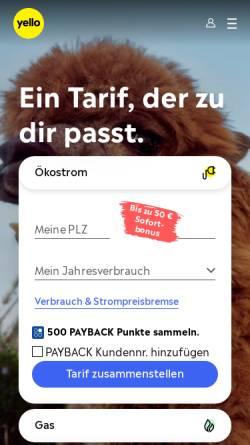 Vorschau der mobilen Webseite www.yellostrom.de, Yello Strom GmbH
