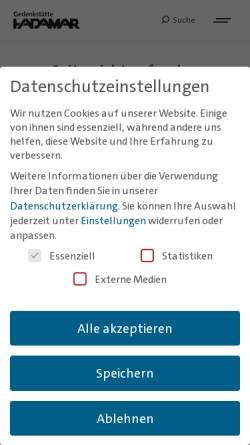 Vorschau der mobilen Webseite www.gedenkstaette-hadamar.de, Gedenkstätte Hadamar