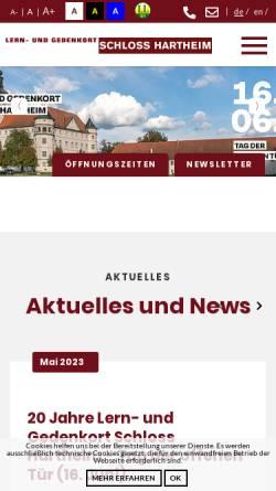 Vorschau der mobilen Webseite www.schloss-hartheim.at, Gedenkstätte Schloß Hartheim