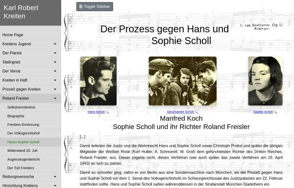 Vorschau von karlrobertkreiten.de, Der Prozess gegen Hans und Sophie Scholl