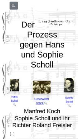 Vorschau der mobilen Webseite karlrobertkreiten.de, Der Prozess gegen Hans und Sophie Scholl