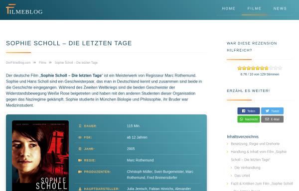 Vorschau von www.sophiescholl-derfilm.de, Sophie Scholl - Die letzten Tage