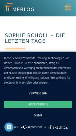 Vorschau der mobilen Webseite www.sophiescholl-derfilm.de, Sophie Scholl - Die letzten Tage