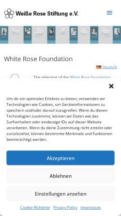 Vorschau der mobilen Webseite www.weisse-rose-stiftung.de, Weiße Rose Stiftung e. V.