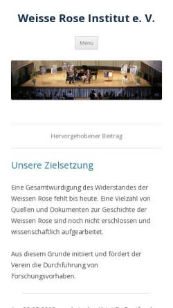 Vorschau der mobilen Webseite www.weisserose.info, Weisse Rose Institut e.V.