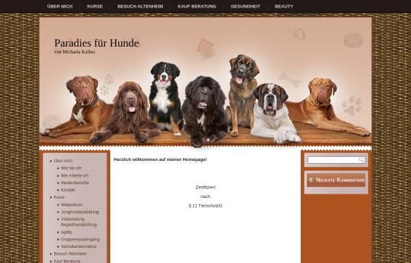 Vorschau von www.paradies-fuer-hunde.de, Michaela Kallies, Paradies für Hunde