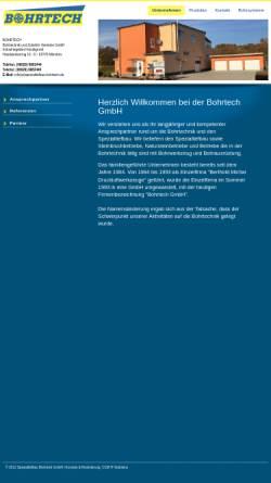 Vorschau der mobilen Webseite www.spezialtiefbau-bohrtech.de, Bohr Tech Bohrtechnik und Zubehör Vertriebs GmbH
