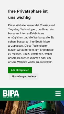 Vorschau der mobilen Webseite www.bipa-paletten.de, BIPA Paletten GmbH & Co. KG