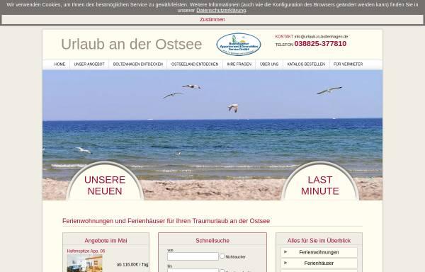 Vorschau von www.urlaub-in-boltenhagen.de, Boltenhagener Appartement & Immobilien Service GmbH (BAIS)