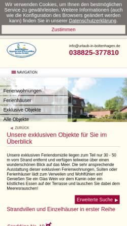 Vorschau der mobilen Webseite www.exklusiv-unterkunft.de, Ferienwohnungen Raeder
