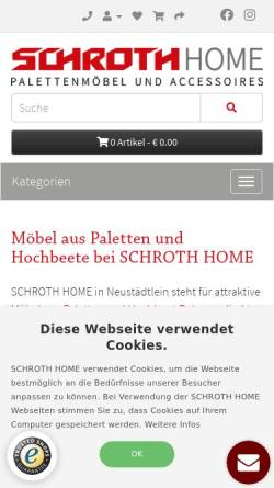 Vorschau der mobilen Webseite www.schroth-paletten.de, Palettenhandel Schroth, Inh. Hartmut Schroth