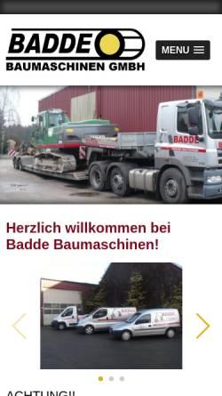 Vorschau der mobilen Webseite www.baumaschinen-badde.de, Baumaschinen Badde