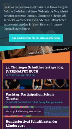 Vorschau der mobilen Webseite www.lag-thueringen.de, Thüringen, Landesarbeitsgemeinschaft Spiel und Theater in Thüringen e.V.
