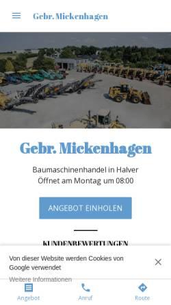 Vorschau der mobilen Webseite gebr-mickenhagen.business.site, Gebrüder Mickenhagen KG