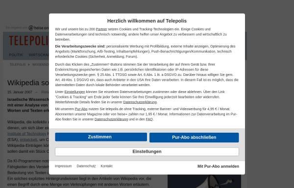 Vorschau von www.heise.de, Wikipedia sorgt für Weltwissen