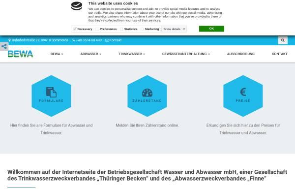 Vorschau von www.bewa-soemmerda.de, BeWA Betriebsgesellschaft Wasser und Abwasser mbH