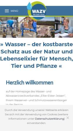 Vorschau der mobilen Webseite www.wazv-jessen.de, Wasser- und Abwasserzweckverband Elbe-Elster-Jessen