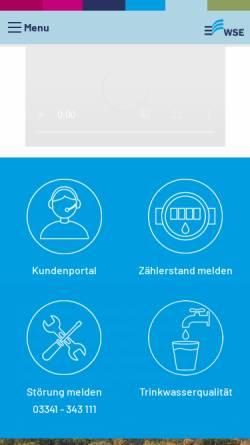 Vorschau der mobilen Webseite www.w-s-e.de, Wasserverband Strausberg-Erkner (WSE)