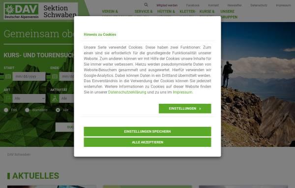 Vorschau von www.alpenverein-schwaben.de, Freitank Schwaben GmbH