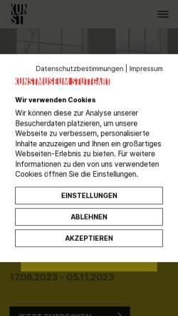 Vorschau der mobilen Webseite www.kunstmuseum-stuttgart.de, Zeitgenössische Kunst in Stuttgart und Umgebung