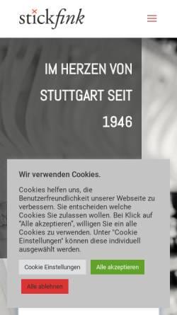 Vorschau der mobilen Webseite www.stickfink.de, Automatenstickerei Fink