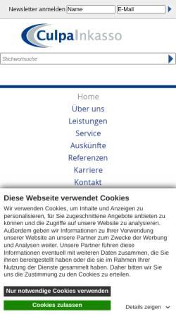 Vorschau der mobilen Webseite www.culpa-inkasso.de, Culpa Inkasso GmbH