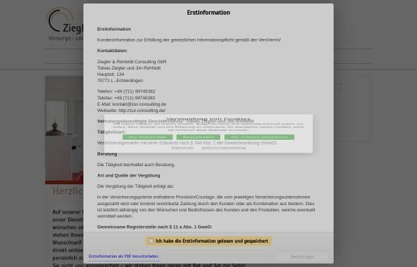 Vorschau von www.zur-consulting.de, Ziegler & Rehfeldt Consulting Vorsorge- und Vermögensplanung GbR