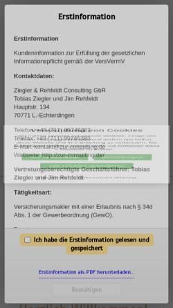 Vorschau der mobilen Webseite www.zur-consulting.de, Ziegler & Rehfeldt Consulting Vorsorge- und Vermögensplanung GbR
