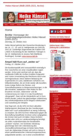 Vorschau der mobilen Webseite www.heike-haensel.de, Hänsel, Heike (MdB)
