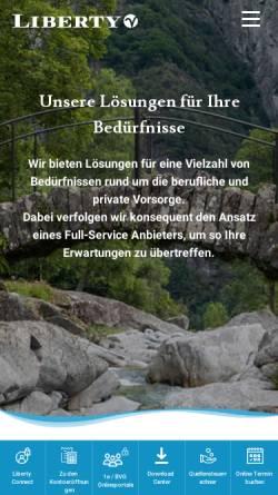 Vorschau der mobilen Webseite www.liberty-stiftung.ch, Liberty Freizügigkeitsstiftung