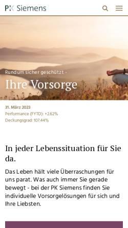 Vorschau der mobilen Webseite www.pk-siemens.ch, Pensionskasse der Siemens-Gesellschaften in der Schweiz