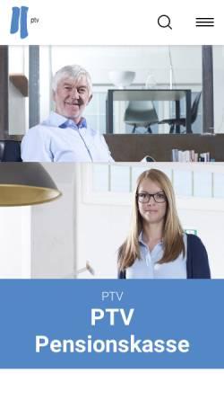 Vorschau der mobilen Webseite www.ptv.ch, PTV Pensionskasse der Technischen Verbände