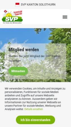Vorschau der mobilen Webseite www.svp-so.ch, Schweizerische Volkspartei Kanton Solothurn - SVP