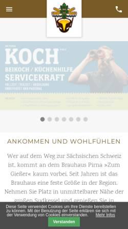 Vorschau der mobilen Webseite www.brauhaus-pirna.de, Brauhaus Pirna Zum Giesser