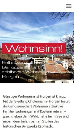 Vorschau der mobilen Webseite www.wohnsinn-horgen.ch, Genossenschaft Wohnsinn