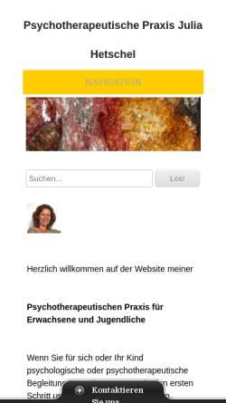 Vorschau der mobilen Webseite www.psychotherapie-zh.ch, Psychotherapeutische Praxis Julia Hetschel