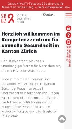 Vorschau der mobilen Webseite www.zah.ch, Zürcher Aids-Hilfe