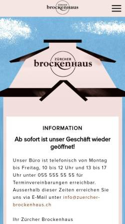 Vorschau der mobilen Webseite www.zuercher-brockenhaus.ch, Zürcher Brockenhaus