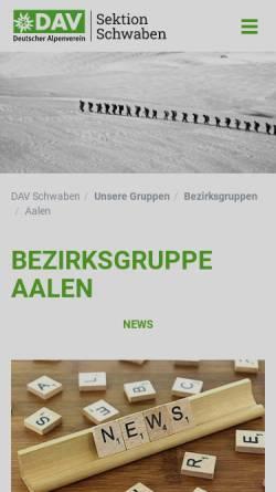 Vorschau der mobilen Webseite www.alpenverein-schwaben.de, DAV Sektion Schwaben Bezirksgruppe Aalen
