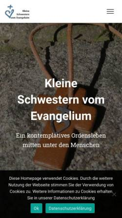 Vorschau der mobilen Webseite www.kleine-schwestern-vom-evangelium.org, Kleine Schwestern vom Evangelium