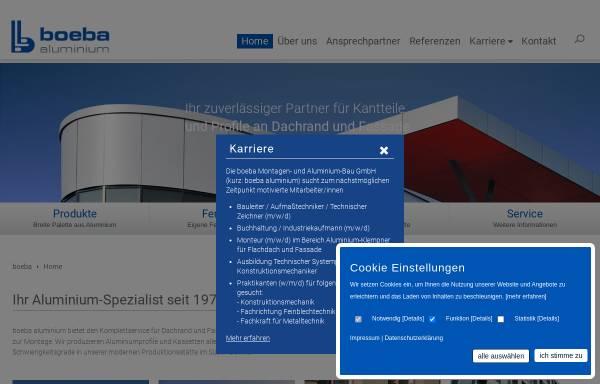 Vorschau von www.boeba.de, Boeba Montagen- und Aluminiumbau GmbH