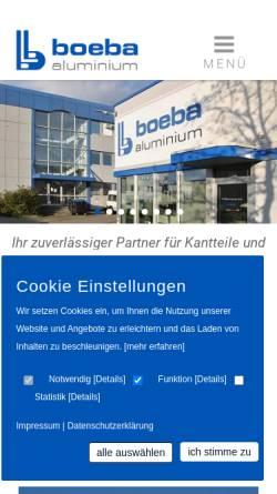 Vorschau der mobilen Webseite www.boeba.de, Boeba Montagen- und Aluminiumbau GmbH
